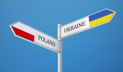 Poland Ukraine  Sign Flags Concept
